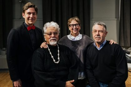Maxime Goulet (composer), Michael Nicoll Yahgulanaas (co-librettist), Glynis Leyshon (darmaturge), and Barry Gilson (co-librettist) at the workshop of the opera The Flight of the Hummingbird, at the Baumann Centre, in Victoria, in 2018. Photo by Nadia Zheng
