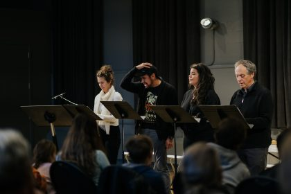 Celine Stubel, Aaron Wells, Kim Harvey, Brian Linds at the workshop of the opera The Flight of the Hummingbird, at the Baumann Centre, in Victoria, in 2018. Photo by Nadia Zheng