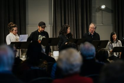 Celine Stubel, Aaron Wells, Kim Harvey, Brian Linds, Jessica Schacht at the workshop of the opera The Flight of the Hummingbird, at the Baumann Centre, in Victoria, in 2018. Photo by Nadia Zheng