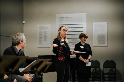 Rebecca Hass at the workshop of the opera The Flight of the Hummingbird, at the Baumann Centre, in Victoria, in 2018. Photo by Nadia Zheng